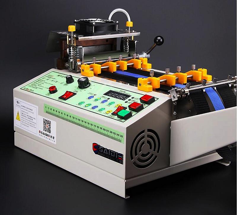 140T computer heißer und kalten Tuch gürtel schneiden maschine, magie klebeband zipper gurtband maschine elastische gürtel automatische schneiden