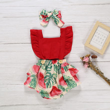 3Pcs Toddler Girls Clothes Newborn Infant Baby Girl Outfit Set Kid Baby Girl Pineapple Print Swimsuits Romper+Headband Clothes