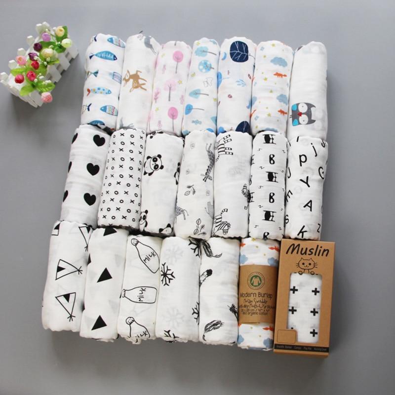 Muslin Blanket 100% Cotton Baby Swaddles 120*120cm Soft Newborn Blankets Bath Gauze Infant Kids Wrap Sleepsack Stroller Cover