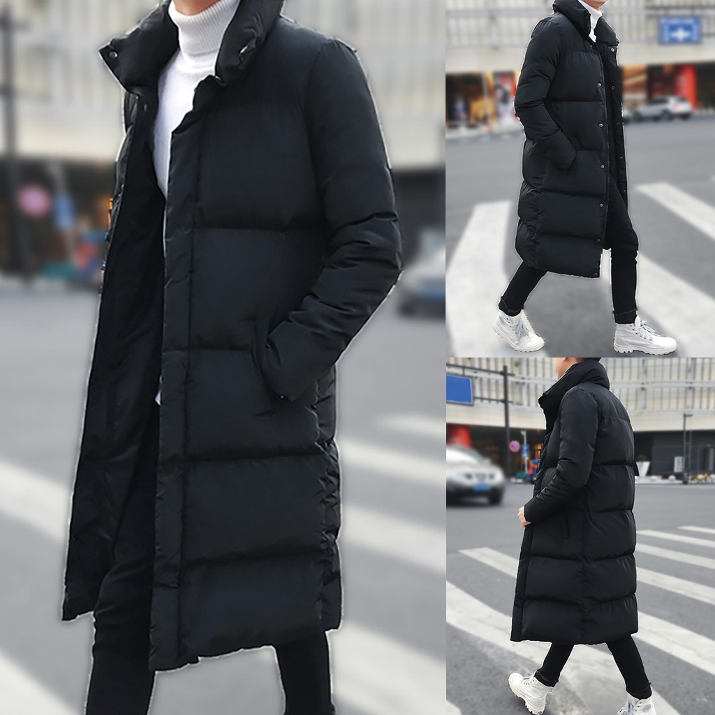 Fashion Casual Men's Cotton Coat Winter Mid-length Pure Color Long Thickened Zipper Button Cotton-padded Jacket Coat Tops