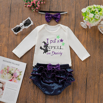 Baby Girl Halloween Outfits - Romper + Bow + Shorts Set