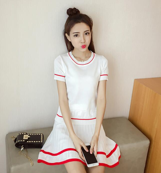 2017 Summer Wear New Style South Korea College Style Short Skirt Set Stripes Contrast Color Elegant Sweater Students Two-Piece S