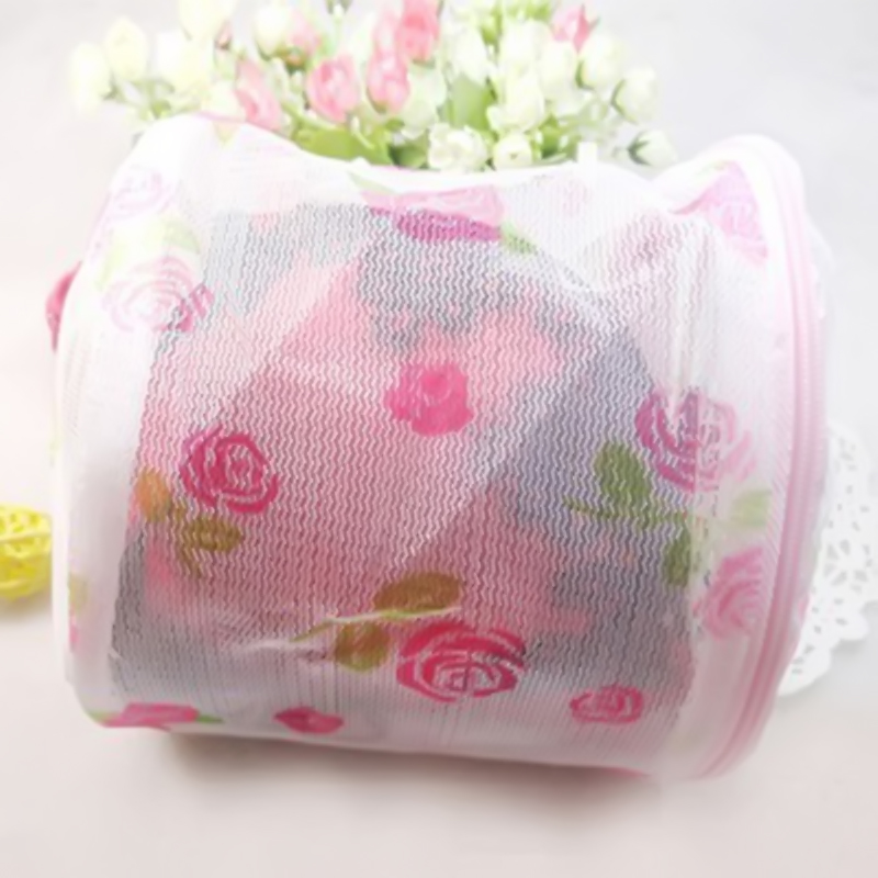 Aid Laundry Bra Underwear Lingerie Mesh Wash Basket Net Storage Bag Flower