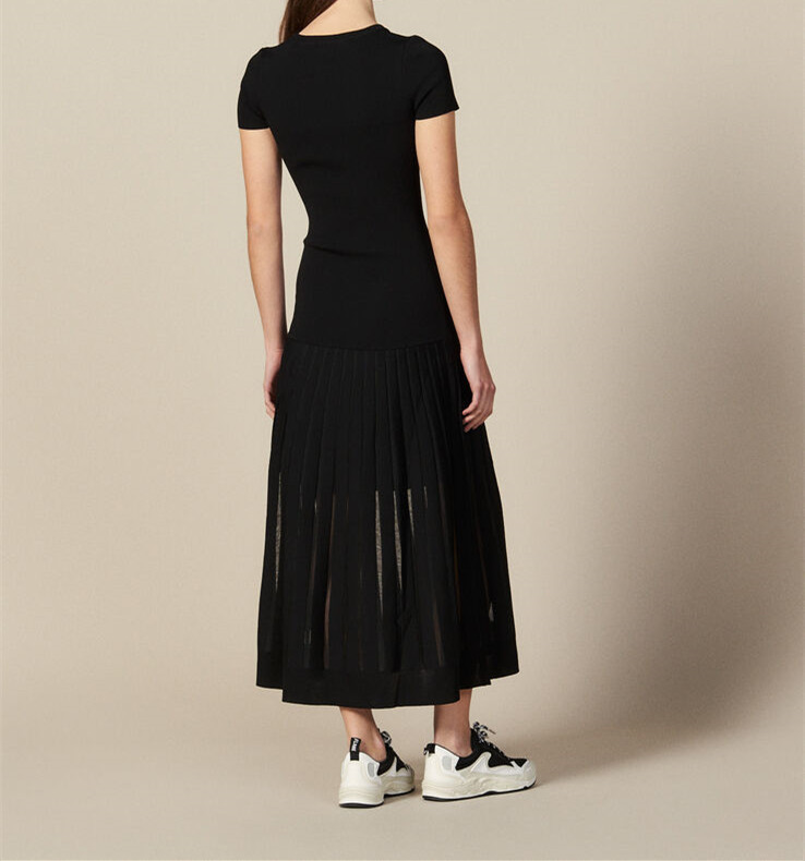 Kadın Giyim'ten Elbiseler'de 2019 Sonbahar/kış Üst Vücut Vuruntu Ince Kısa Kollu Uzun Jersey Elbise Kadınlar'da  Grup 2