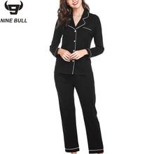NINE BULL 2019 Hot Sale the new autumn Cotton Button Pockets Leisure pyjamas women Long Sleeve Fashion Simple Pajamas suit woman