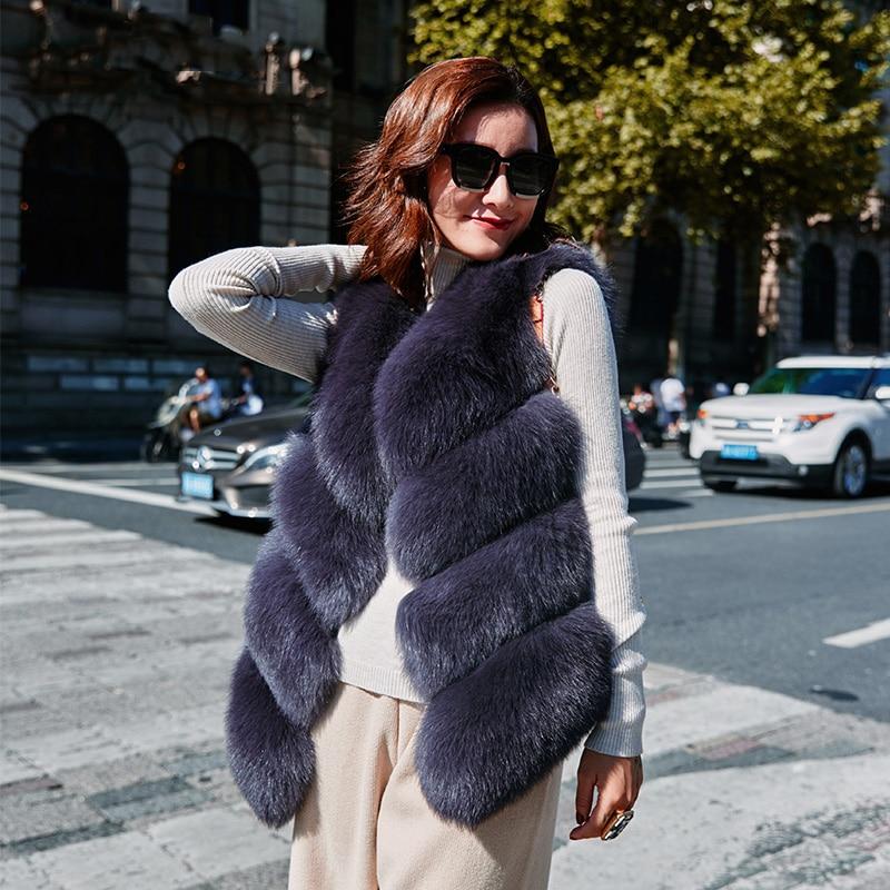 Rf0008B Real Fur Vest Women Short Style Natural Fox Fur Waistcoat Winter Fashion Fur Gilet