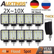 Auxtings 2pcs 10pcs עמיד למים 48w מבול/ספוט led עבודה אור בר עמיד למים CE RoHS offroad משאית רכב LED עבודת אור 12v 24v