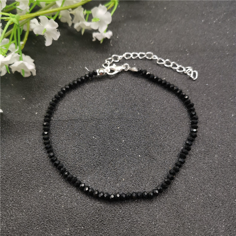 JCYMONG New Black 3mm Glass Beads Anklet For Women Bohemian Female Beach Ankle Bracelet On Leg 2019 Foot Jewelry enkelbandje