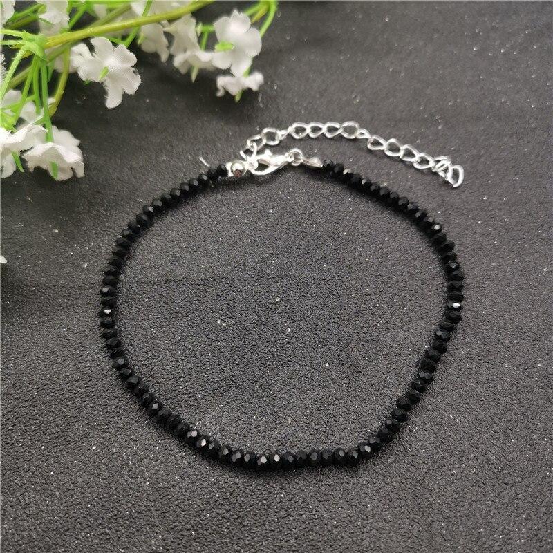 JCYMONG New Black 3mm Glass Beads Anklet For Women Bohemian Female Beach Ankle Bracelet On Leg 2019 Foot Jewelry enkelbandje