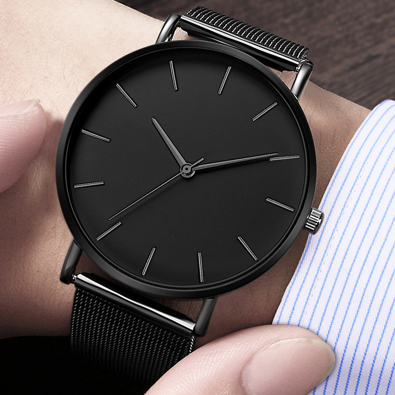 Men Watch Quartz Casual Watches Simple Metal Hour Reloj Quartz Watch Montre Mesh Stainless Steel erkek kol saati masculino clock(China)