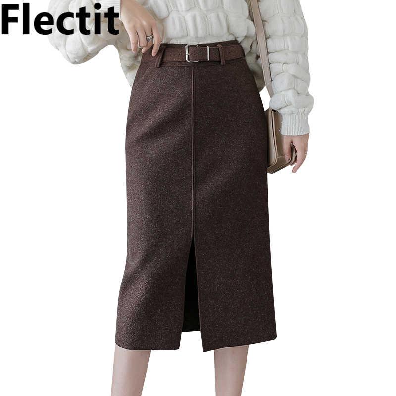 Flectit Frauen Wolle Bleistift Rock Mit Gürtel Vorder Split Hohe Taille Midi Länge Warmen Rock Herbst Winter Damen Outfits *