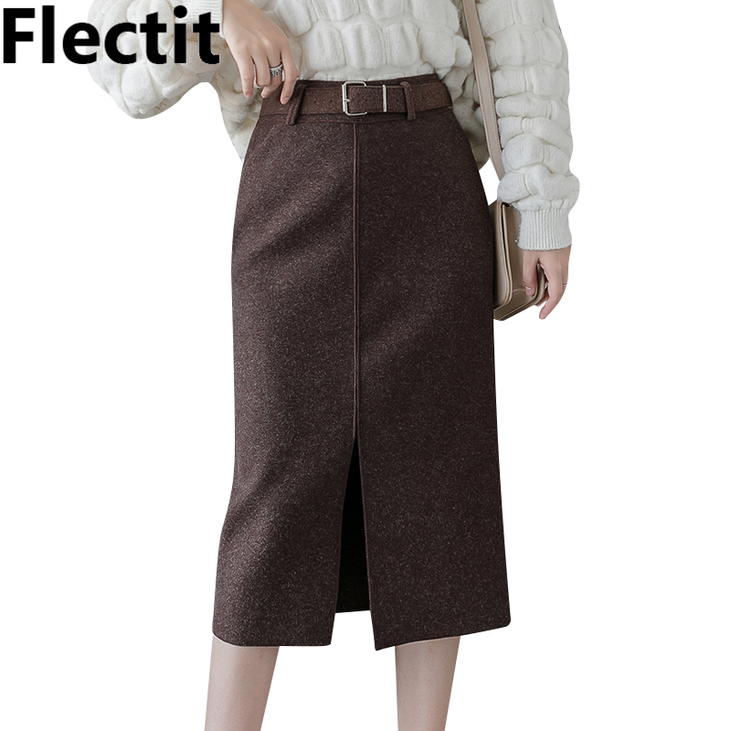 Flectit Women Wool Pencil Skirt With Belt Front Split High Waist Midi Length Warm Skirt Autumn Winter Ladies Outfits *