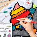 12/24 Colors Fabric Markers Pens Permanent Fabric Paint Pen Soft Brush Markers Pen Clothes Canvas T-shirt Shoes Cap DIY Painting