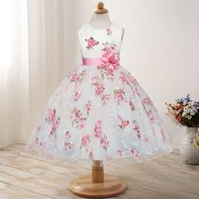 Summer Children's Floral Sleeveless Party Dresses For Girls Clothing Children Kids Clothes Size 3 4 5 6 7 8 Years Old