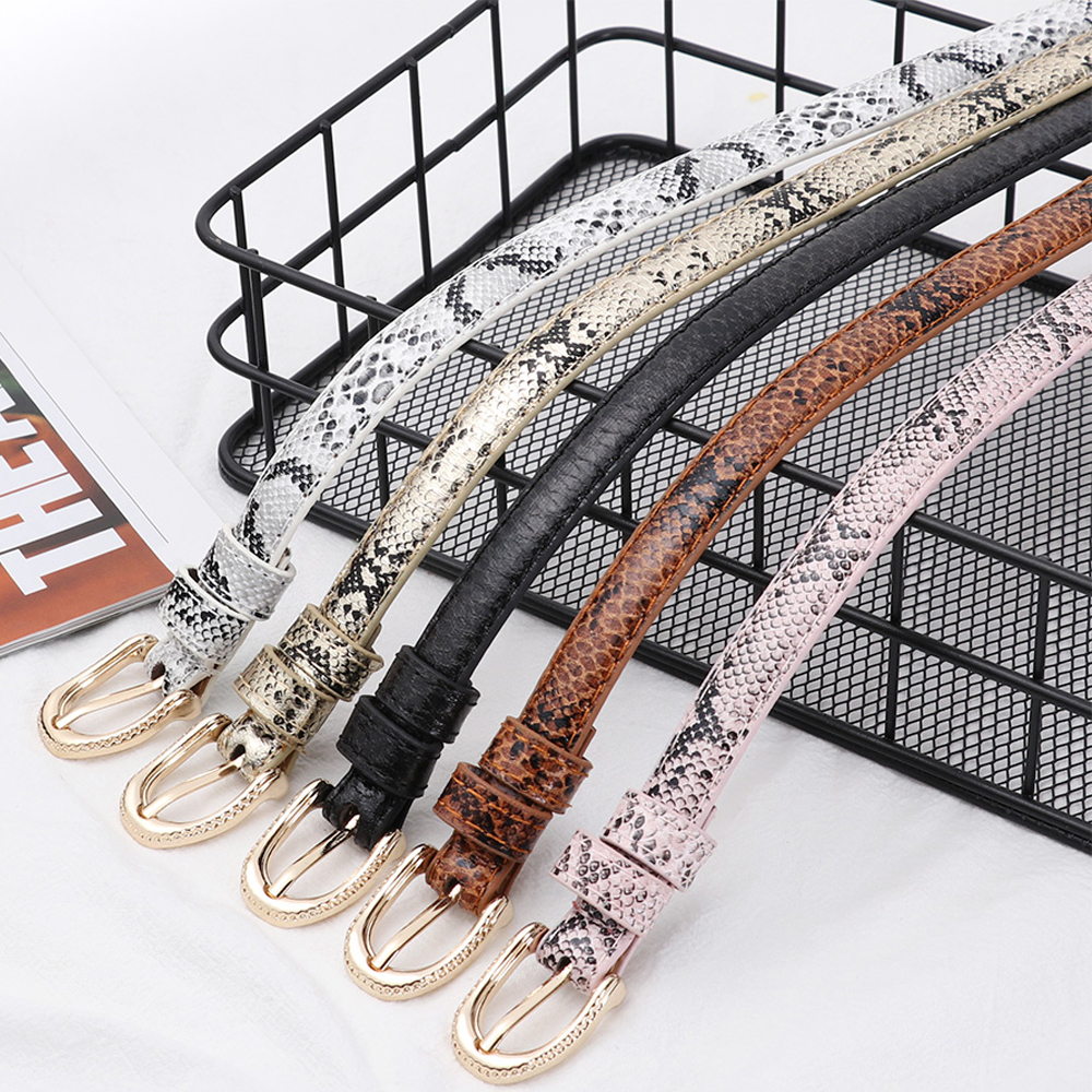 Snake Skin Print Women Belts Gold Square Pin Buckle Waistband PU Leather Belt Waist Female Belts Fashion Pants Dress Accessoreis