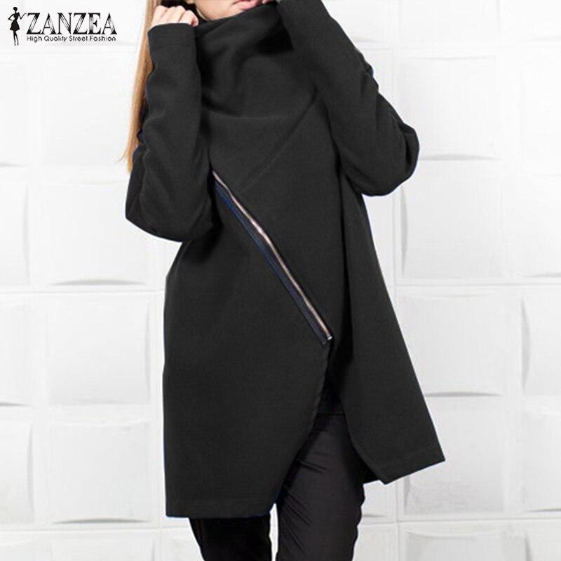 ZANZEA Winter Fleece Sweatshirt Coat Women Turtleneck Long Sleeve   Jackets   Casual Zipper Solid Outwear Femme   Basic     Jacket