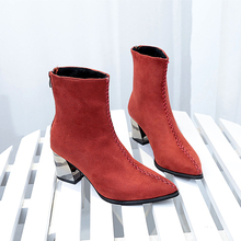 2019 New High Heel Sexy Boots Women Pointed Toes Fashion Ankle Elegant Winter Autumn Red Black