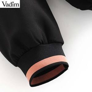 Image 5 - Vadim women chic patchwork hooded sweatshirts long sleeve drawsting tie loose pullovers female outwear casual tops HA491