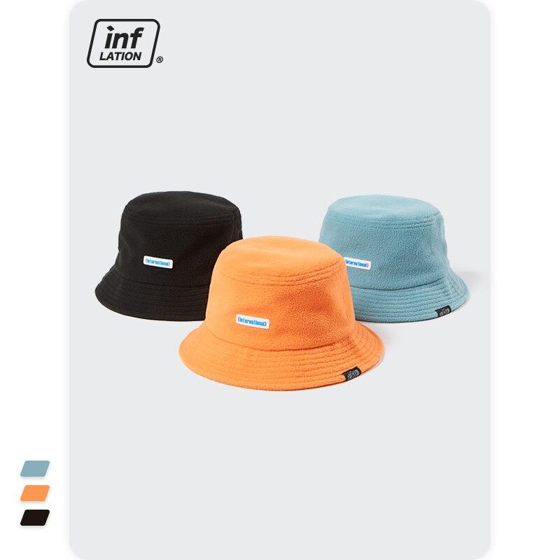 INFLATION Harajuku Retro Fisherman Hat Men Candy Color Warm Bucket Hat Girl Sweet Cute Fisherman Cap Streetwear 295CI2022
