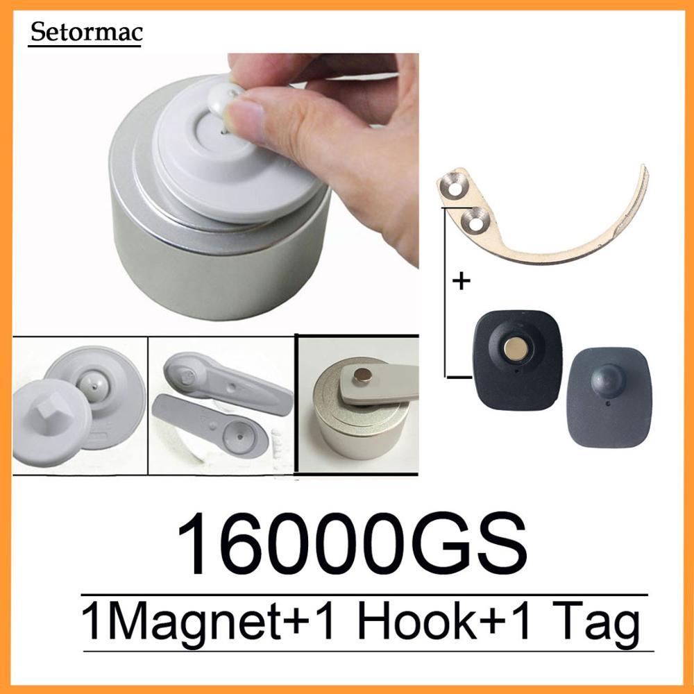 Odłącznik magnetyczny 16000GS przyrząd do zdejmowania etykiet zabezpieczających System kontrolny RF8.2Mhz kompatybilny + 1 wieszak na klucze odłącznik + 1 czujniki alarmowe