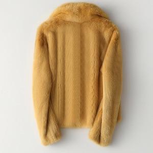 Image 4 - Zimowa skóra prawdziwe futro z norek moda damska krótkie futra z norek luksusowa wysokiej jakości ciepła gruba naturalna wąska bluza