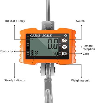 1000KG Digital Hanging Hook Scale Portable Industrial Heavy Duty Crane Scale With Accurate Reloading Spring Sensor LED Display 5