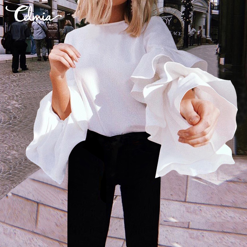 Women Blouses Plus Size Autumn Ruffled Tops 2020 Celmia Fashion Long Sleeve Loose Solid Female Shirts O Neck Casual Blusas Mujer