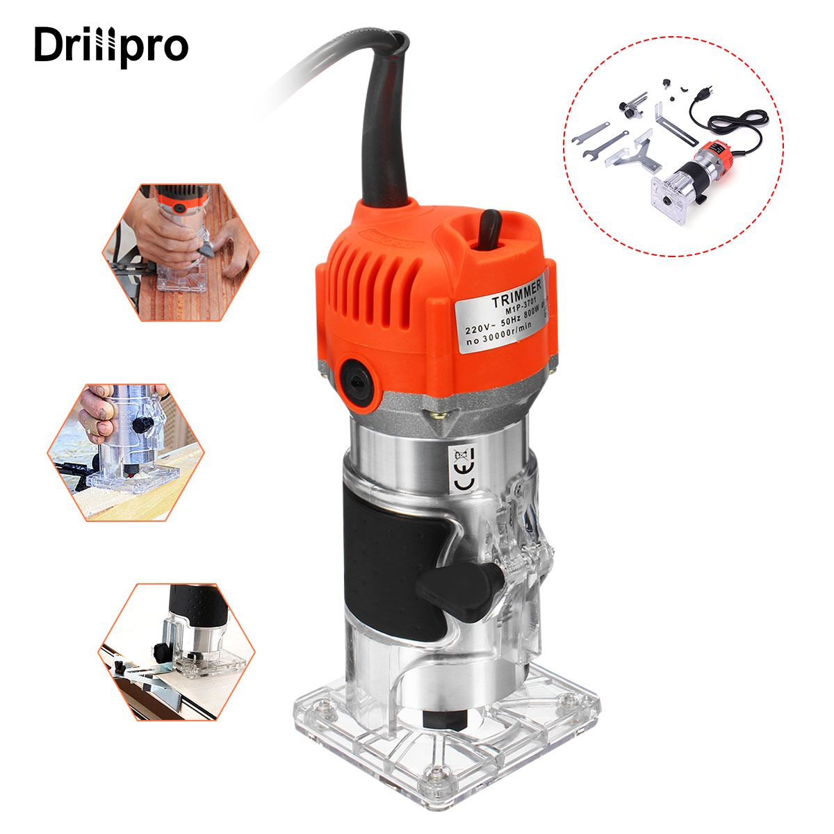 Drillpro 800w 30000r/min Woodworking Electric Trimmer 220V Slotting Trimming Machine Trimmer Milling Engraving Power Tools DIY