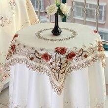 Blanco Vintage bordado mantel tapete Floral encaje algodón mantel cuadrado