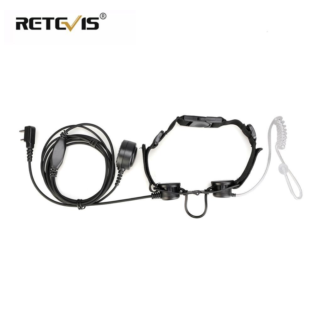 Retevis ETK003  2 Pin Throat Microphone With Finger PTT Laryngophone For Kenwood TYT Walkie-talkie Earpiece C9125A