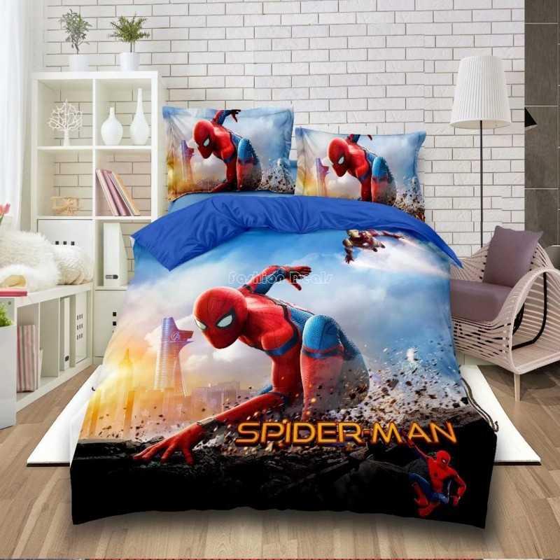 2019 новый комплект постельного белья с рисунком Человека-паука, Бэтмен, Мстители, Миньоны, персонаж, набор пододеяльников, один двойной полный размер