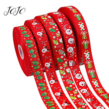 JOJO BOWS 25mm 5y Christmas Grosgrain Stain Ribbon For Craft Festival Tape Needlework DIY Hair Bows Party Home Decoration