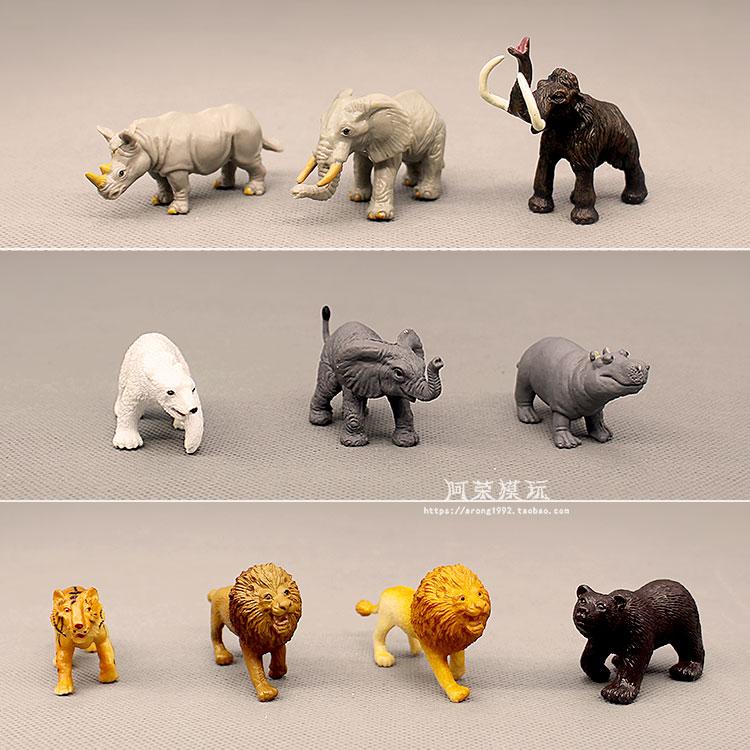 Wild Animal Miniature Model African Lion Elephant Rhinoceros Hippo Black Bear Tiger Ornaments Action Figure Figurine Model Toys