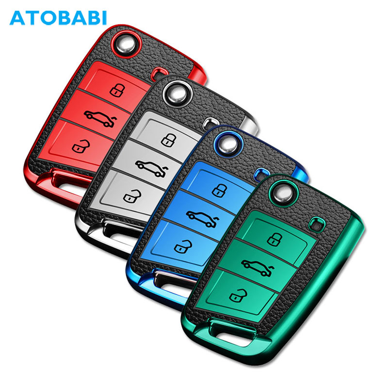 TPU Leather Car Key Cover For Volkswagen VW Golf 7 MK7 Seat Ibiza Leon FR 2 Altea Aztec Skoda Octavia A7 Folding Remote Fob Case