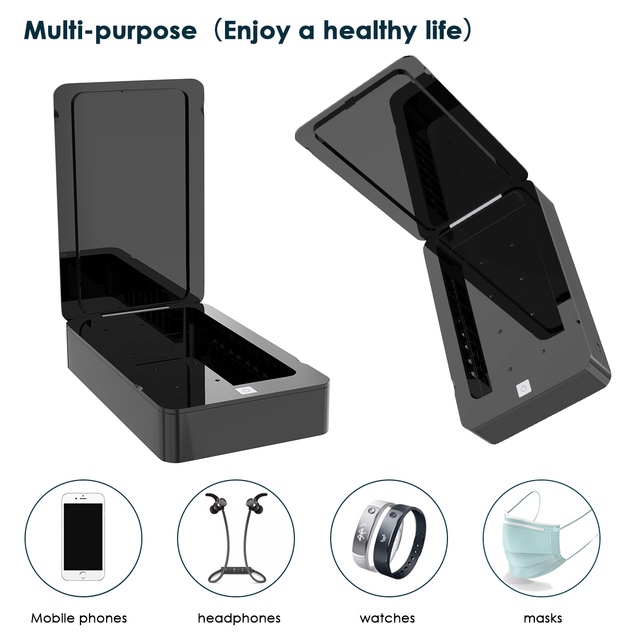 UV Disinfection Box Sanitizer Charger Prevent Flu For iPhone/Samsung Mobile Phone Headphones Mask Sterilizer Kill 99.9% germ 4