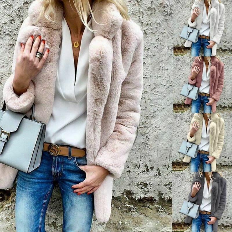 Winter Warm Fluffy Long Sleeve Fake Fur Coats Outerwear Women 2020 Plush Faux Fur Coat Teddy Jackets Overcoat Ladies