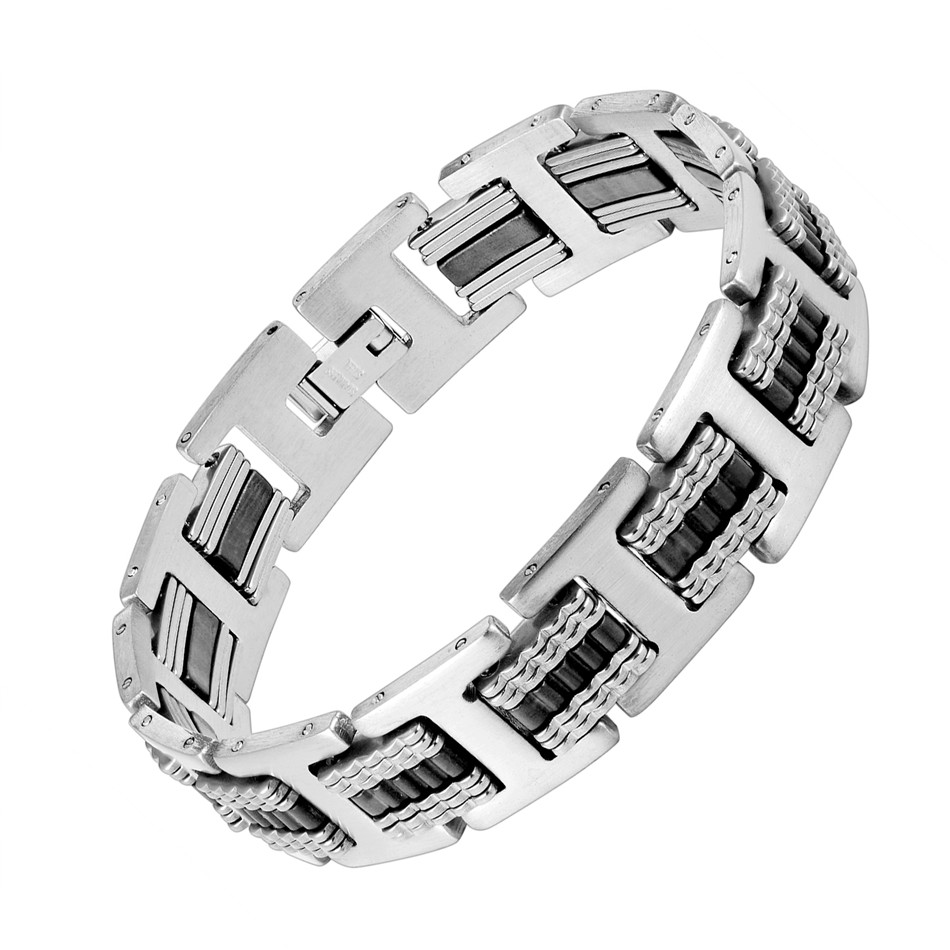 Punk Exaggerated Men's Bracelet Bicycle Chain Rubber Stainless Steel Bracelet for Men Accessory