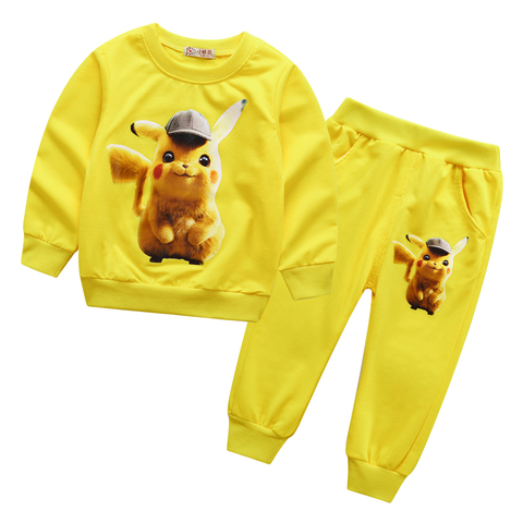 2019 New Children Kids Boys Clothing Sets Autumn Pikachu Sets Hooded Coat Suits Fall Cotton Baby Boys Coat+Pant 3Pcs Clothes set Multan