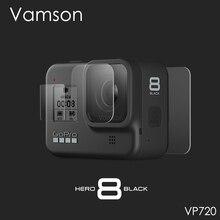 Vamson 移動プロヒーロー 8 黒強化ガラススクリーンプロテクターアクションカメラレンズスクリーンフィルムのための 9 個 8 カメラ VP720