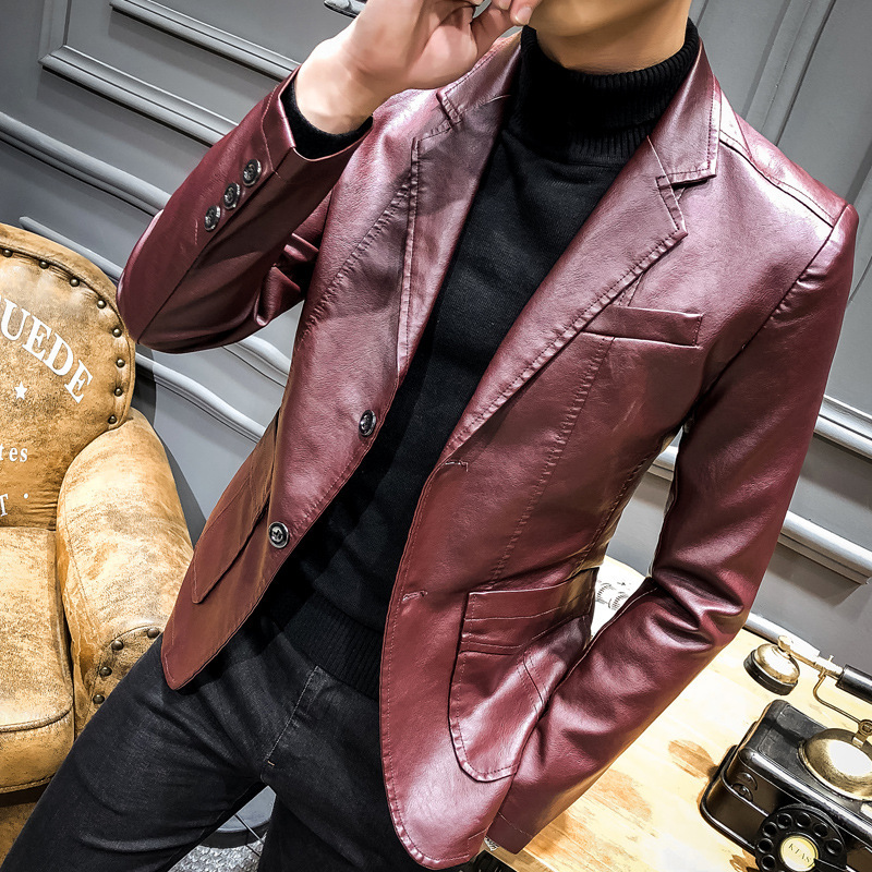 Mens Leather Jacket Autumn Winter Korean Fashion Slim Thick Warm Male Coat Turn-down Collar Single Breasted Blazer Plus Size 4XL