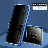 Magnetic Tempered Glass Privacy Metal Phone Case Coque 360 Magnet Antispy Protective Cover For Samsung Galaxy S8 9 plus note 8|  -
