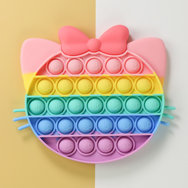 Rainbow Cute Cat Animal Simple Fidget Toy Push Bubble Stress Sensory Toy Relief Anti-stress Hand Game Toys 1