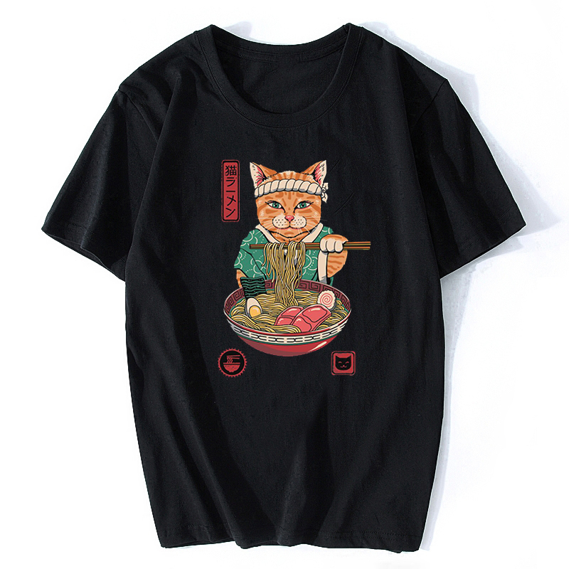 Neko Ramen Japan Cat Anime T Shirt Men's High Quality Aesthetic Cotton Cool Vintage T-shirt Harajuku Streetwear Camisetas Hombre