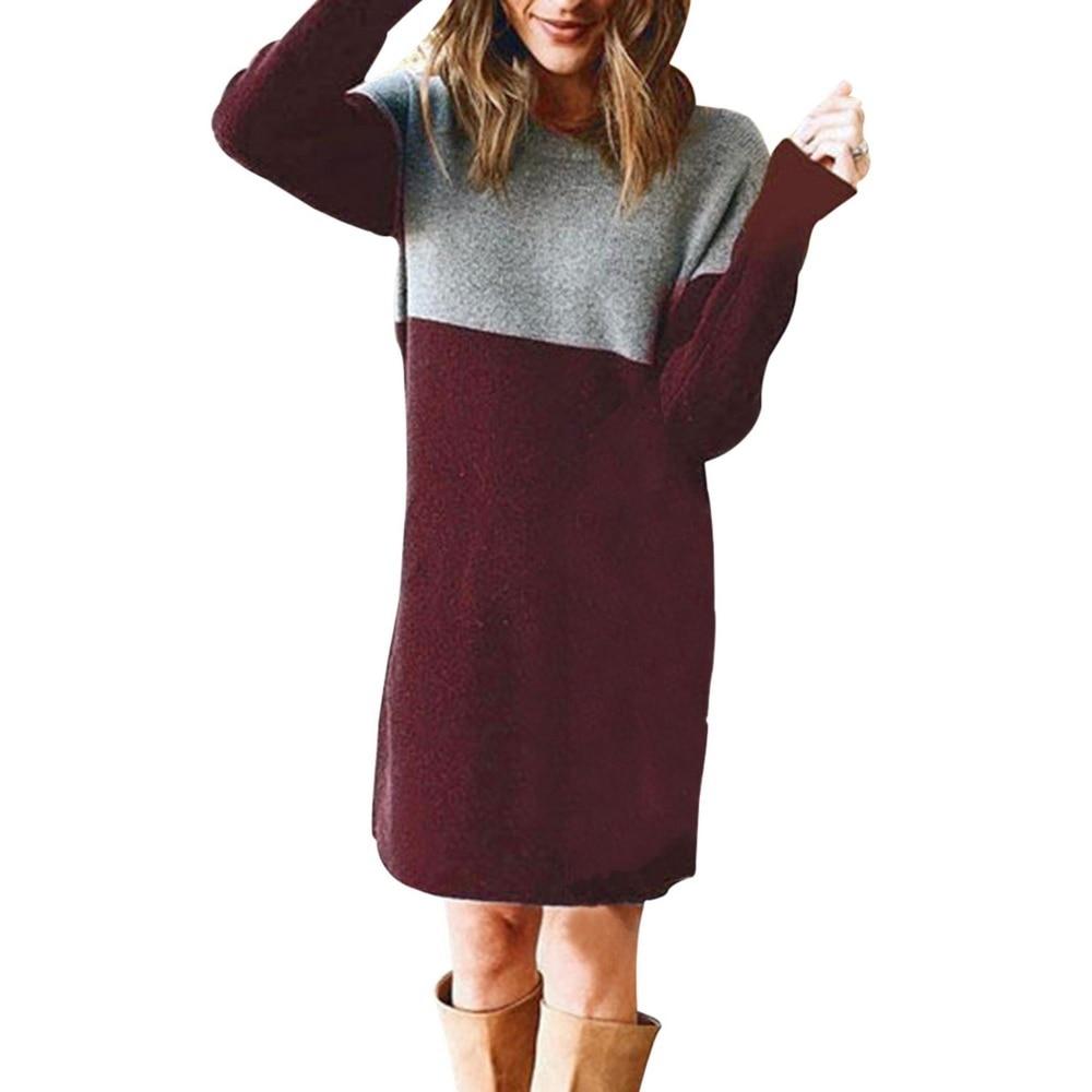 Women Autumn Dress Long Sleeve Stripe Patchwork O-neck Mini Dress Fashion Clothing Loose Casual Autumn Winter Vestido 11