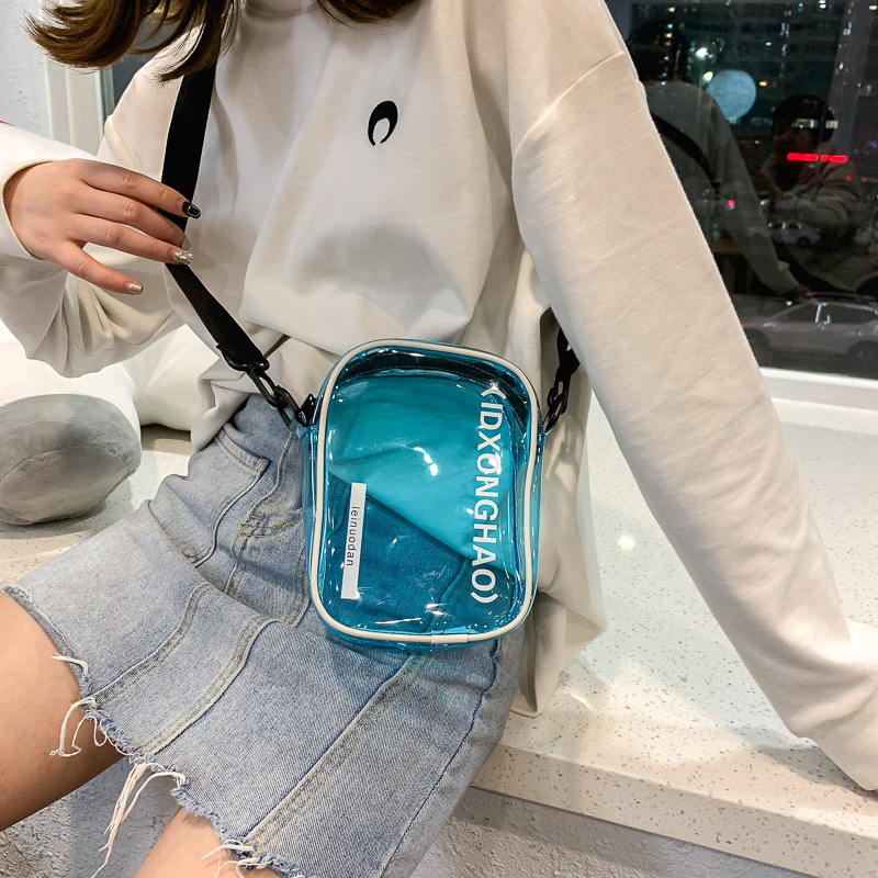 Transparent Bag For Women Clear Shoulder Bag Female Handbags Girls Letter Print Casual Small Crossbody Bags