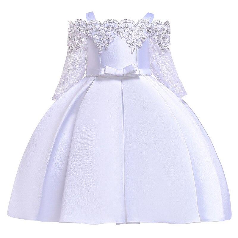 Новинка; платье принцессы для дня рождения, банкета, банкета, с бретельками; кружевное платье с цветочным узором для девочек на свадьбу; праздничное платье с рукавами; vestidos - Цвет: white