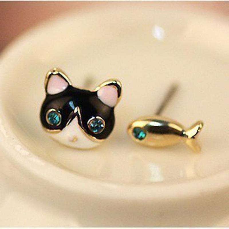 2018 Simple Fashion Earrings Jewelry High Quality Blue Crystal Cat And Fish Asymmetric Earring For Women Boucle D'oreille Femme