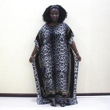 Dashikiage 100% Cotton Black Leopard Print Short Sleeve Plus Size African Dashiki Women Dress