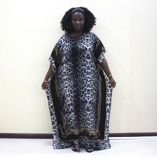 Dashikiage 100% de algodón con estampado de leopardo, manga corta, de talla grande, Dashiki africano, para mujer