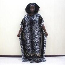 Dashikiage 100% כותנה שחור הדפס מנומר קצר שרוול בתוספת גודל האפריקאי דאשיקי נשים שמלה